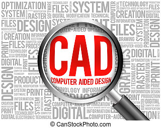 aidé, mot, -, informatique, conception, nuage, cao