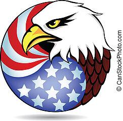 aigle, drapeau, amérique, avoir