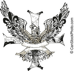 aigle, emblème, de, croix, fleur, lis