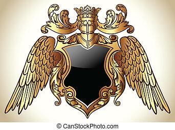 ailé, emblème, or
