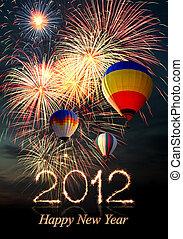 air-balloon, feux artifice, chaud, année, nouveau, 2012