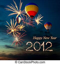 air-balloon, feux artifice, chaud, coucher soleil, année, nouveau, 2012
