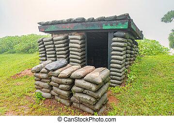 air, guerre, protection, soldats, bombe, ou, raid, structures, abris