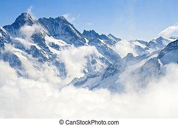 alpes, montagne, jungfraujoch, paysage