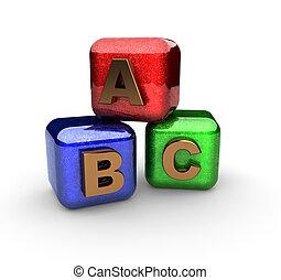 alphabet, fait, blocs, 3d