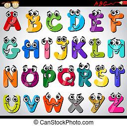 alphabet, lettres, dessin animé, illustration, capital