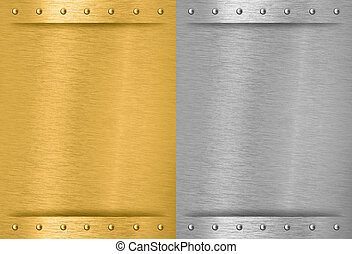 aluminium, cousu, métal, plaques, laiton, rivets