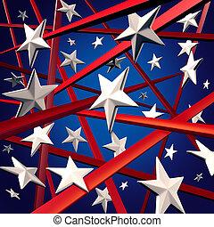 américain, raies, étoiles