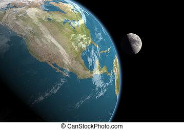 &, amérique, nord, lune