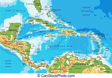 amérique, physique, carte, îles, antilles, central