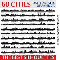 ameri, incroyable, etats, silhouettes, uni, set., horizon, ville