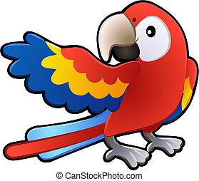 amical, macaw, perroquet, illustration, mignon