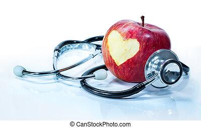 amour, -, santé, pomme, concept