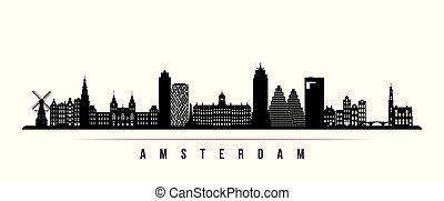 amsterdam, horizon, ville, horizontal, banner.