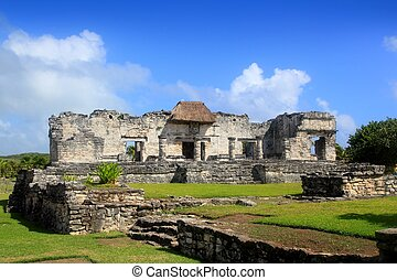 ancien, mexique, roo, quintana, maya, tulum ruine
