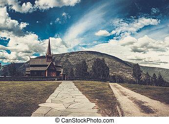 ancien, scénique, portée, lom, church., vue