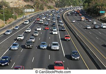 angeles, freeway., usa., los, trafic, hollywood, 101, californie