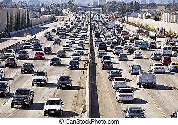 angeles, los, 405, autoroute, traffic--the