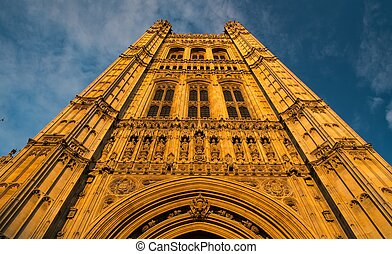 angleterre, ciel, abbaye, westminster, contre, tour, londres