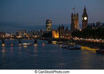 angleterre, westminster, tamise, nuit, rivière, londres, vue