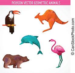 animaux, coloré, collection, vecteur, polygonal