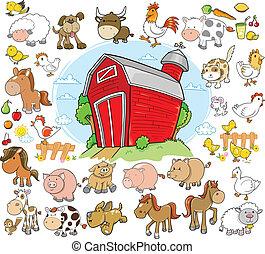 animaux ferme, mettez stylique, vecteur