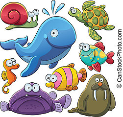 animaux, mer, collection