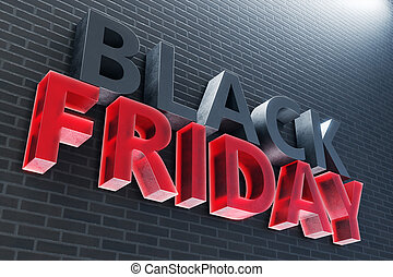 année, dernier, vendredi, vente, escomptes, jours, sales., november., seulement, noir, illustration, année, maison, autrefois, 3d
