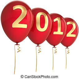 année, nouveau, fête, ballons, rouges, 2012