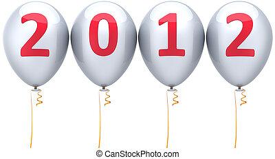 année, nouveau, fête, blanc, ballons, 2012
