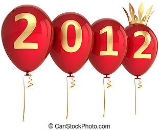année, nouveau, heureux, ballons, rouges, 2012