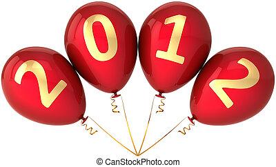 année, veille, fête, nouveau, ballons, 2012