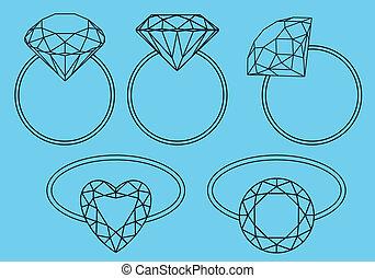anneaux, diamant, vecteur, ensemble