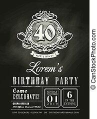 anniversaire, anniversaire, tableau, fond, invitation, carte