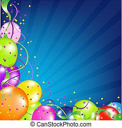 anniversaire, ballons, fond, sunburst