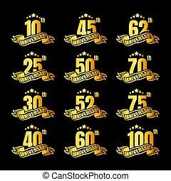 anniversaire, card., affiche, ou, invitation, vecteur, toile, badges., magazine, prospectus, doré, salutation, ensemble, livret, célébration, illustration, brochure, emblème, conception