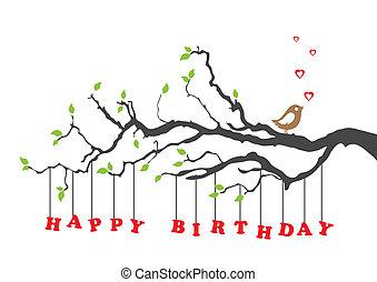 anniversaire, oiseau, carte, heureux