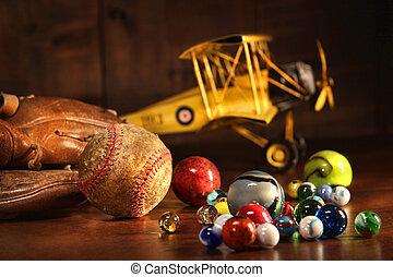 antiquité, base-ball, vieux, gant, jouets