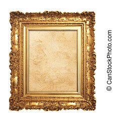 antiquité, cadre, vieux, or