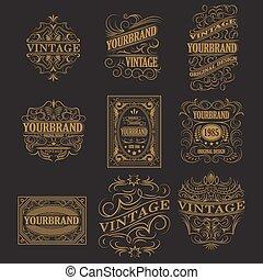 antiquité, conception, vendange, étiquette, cadre, retro, logo.