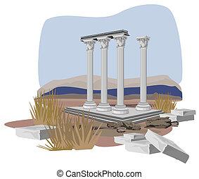 antiquité, ruines, temple
