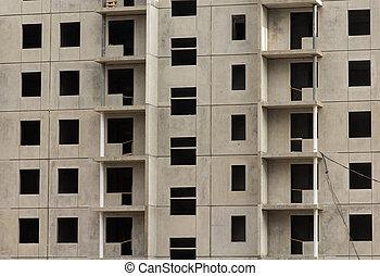 appartement, construction, sous, façade, nouveau, bâtiment