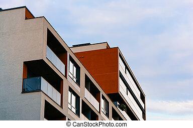 appartement, réflexe, luxe, extérieur, bâtiment, nouveau
