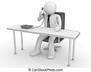 appeler, lieu travail, homme