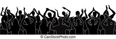 applaudir, gens, illustration., vecteur, silhouette, foule., audience