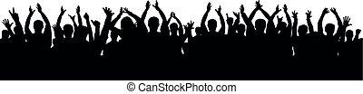 applause., silhouette, foule, gens, applaudir, acclamation, audience, vecteur