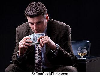 apprécier, argent, homme affaires, lot