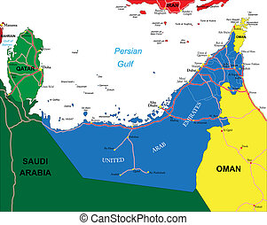 arabe, carte, uni, emirats