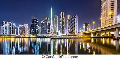 arabe, emirats, horizon ville, dubai, nuit