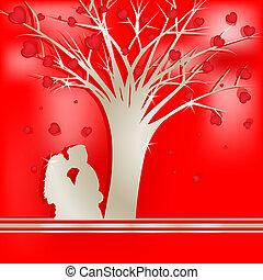 arbre, amants, silhouette, amour